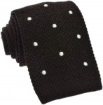 Knit Brown Tie (white dots) 100% Wool