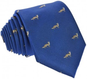 Foxes Tie 100% Silk (navy)