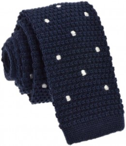 Knit Dots Tie 100% Wool (Navy)