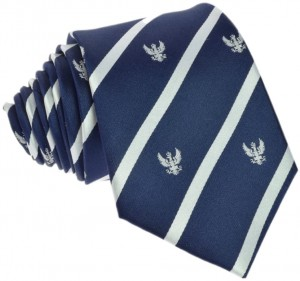 Regimental Tie 100% Silk (White Eagle) Navy