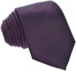 Plain Brown / Purple Tie 100% Silk