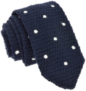 Knit Dots Tie 100% Wool (Navy) (2)
