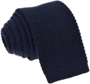 Knit Plain Navy Tie 100% Wool
