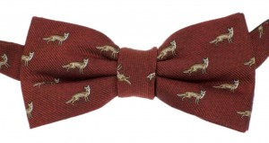 Bowtie 100% Silk -  Foxes (brown)